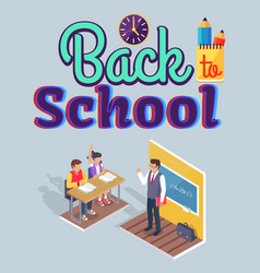 students boy and girl sit at desk teacher stand vector image