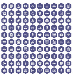 100 property icons hexagon purple vector image vector image