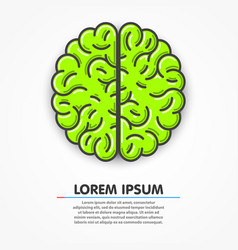 cartoon green brain sign clean vector image vector image