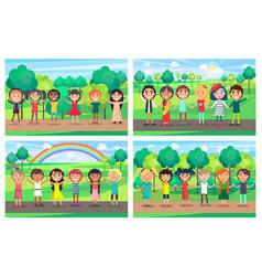 children hold hands together out on nature set vector image