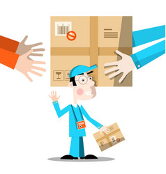 delivery service hands with package and man vector image