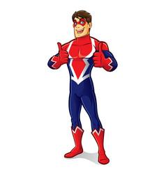 friendly superhero thumb up vector image