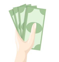hand holding money saving dollar flat design style vector image