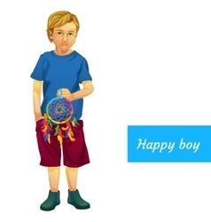 Happy boy in summer clothes with Dreamcatcher vector image vector image