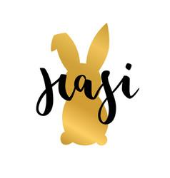 Hasi easter rabbit german text lettering vector