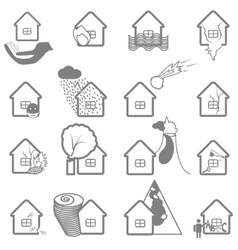 Property insurance icon set vector image vector image