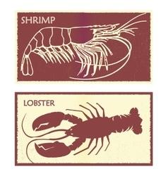 Seafood set lobster and shrimp vector