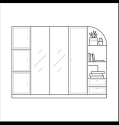 wardrobe in simple outline style vector image vector image