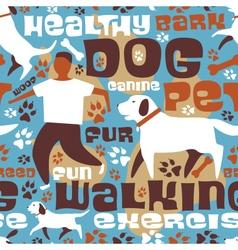 Dog walking tile vector image vector image