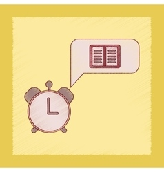 flat shading style icon book alarm clock vector image