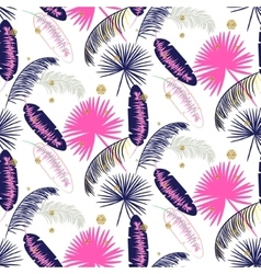 Pink and blue banana palm leaves seamless vector image