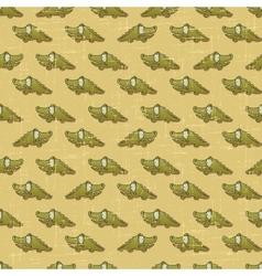 Vintage cartoon crocodiles pattern vector image vector image