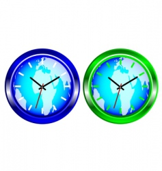 world map clock vector image vector image