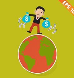 Cartoon Businessman walking on the earth - - vector image vector image