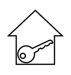 Thin line house key icon vector