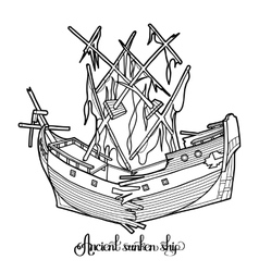 Ancient sunken ship vector image