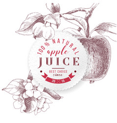 apple juice paper emblem vector image