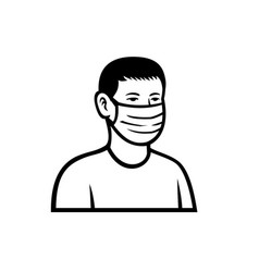 Asian teenage boy wearing face mask front view vector