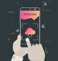 augmented reality cloud offcie storage mobile app vector image