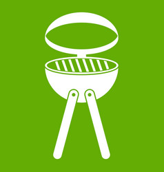 Barbecue grill icon green vector