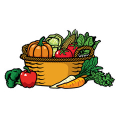 Basket full of vegetables vector