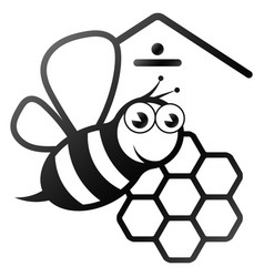 bee and honeycomb silhouette vector image