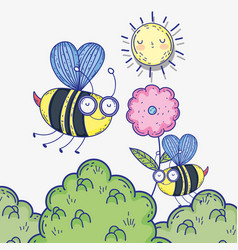 bees insects animals with flower and sun vector image
