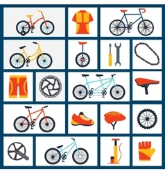 Bicycle accessories flat icons set vector image