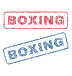 Boxing textile stamps vector