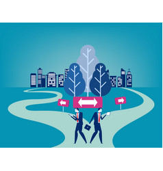 businesss people with crossroad concept business vector image