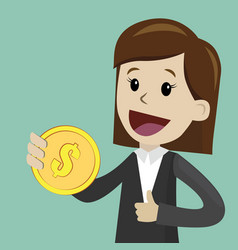 Businesswoman holds coin in his hand and has vector