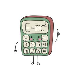 Cartoon funny calculator smiles vector