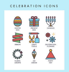 celebration icons vector image