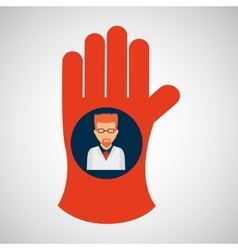 chemical glove with scientist chemistry graphic vector image vector image