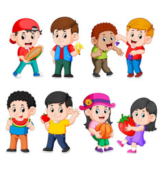 Children holding and eating their fruits vector