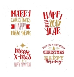 Christmas and New Year Typography Set vector image