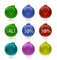 christmas balls with sale tags vector image
