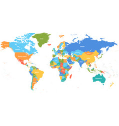 colored world map political maps colourful world vector image