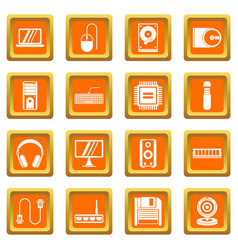 computer icons set orange vector image