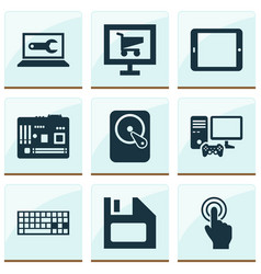computer icons set with software joystick vector image