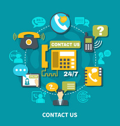 Contact us round composition vector