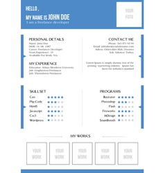 Creative blue resume vector image