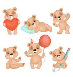 Cute bear pose cute animal teddy bear boy toys vector