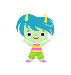 Cute horned troll boy happy adorable fantasy vector