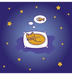 cute little cat sleeping vector image
