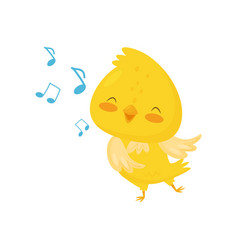 cute yellow chicken singing funny bird cartoon vector image