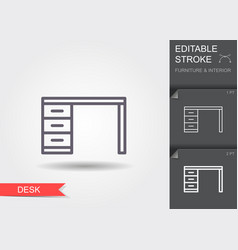 desk line icon with editable stroke with shadow vector image