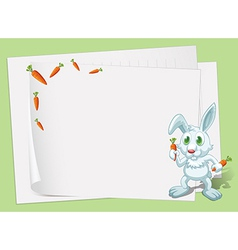 Empty papers with a bunny and carrots vector image