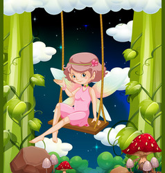 Fairy on swing at night time vector