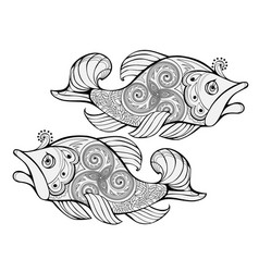 Fantasy drawing imaginary fairy tale fishes vector